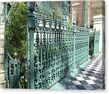 Canvas Print featuring the photograph Charleston Historical John Rutledge House Fleur Des Lis Aqua Teal Gate Fence Architecture  by Kathy Fornal