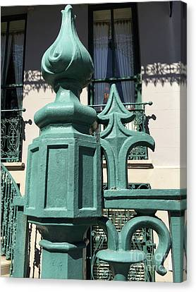 Canvas Print featuring the photograph Charleston John Rutledge House Fleur De Lis Symbols - French Quarter Architecture Gate Posts by Kathy Fornal