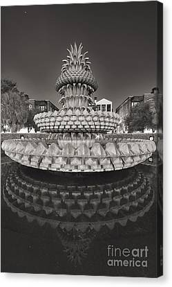 Charleston Pineapple Fountain Fine Art Black And White Canvas Print by Dustin K Ryan