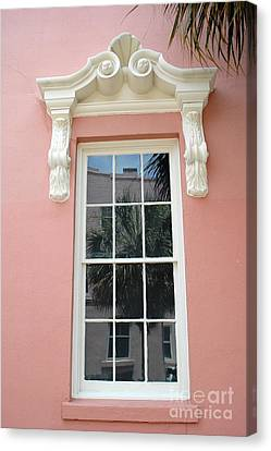 Charleston Pink Coral White Architecture - Charleston Historical District Architecture - Mills House Canvas Print by Kathy Fornal