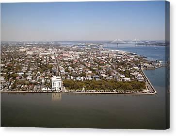 Charleston South Carolina Battery Waterfront Aerial Canvas Print by Dustin K Ryan