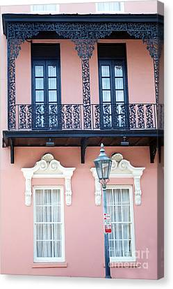 Garden Scene Canvas Print - Charleston The Mills House Lace Balconies And Window Architecture - Charleston Historical District by Kathy Fornal