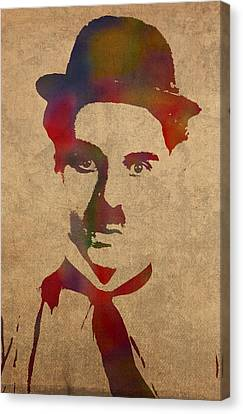 Charlie Chaplin Watercolor Portrait Silent Movie Vintage Actor On Worn Distressed Canvas Canvas Print by Design Turnpike