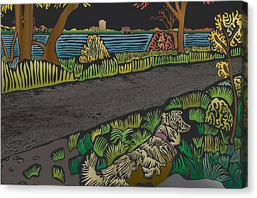 Charlie On Path Canvas Print by Kevin McLaughlin