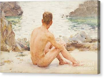 Charlie Seated On The Sand Canvas Print by Henry Scott Tuke