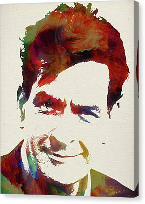 Charlie Sheen Watercolor Portrait Canvas Print by Design Turnpike