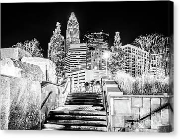 Charlotte At Night Black And White Photo Canvas Print by Paul Velgos
