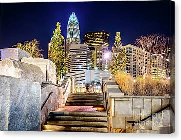 Charlotte At Night With Romare Bearden Park Canvas Print by Paul Velgos