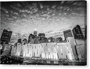 Charlotte Canvas Print - Charlotte Bearden Park Waterfall Black And White Picture by Paul Velgos