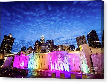 Charlotte Canvas Print - Charlotte Bearden Park Waterfall Fountain At Night by Paul Velgos
