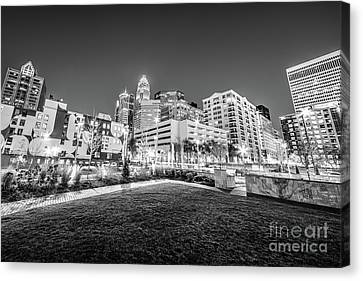 Charlotte City Black And White Photo Canvas Print by Paul Velgos