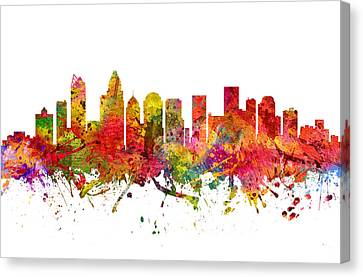 Charlotte Cityscape 08 Canvas Print by Aged Pixel