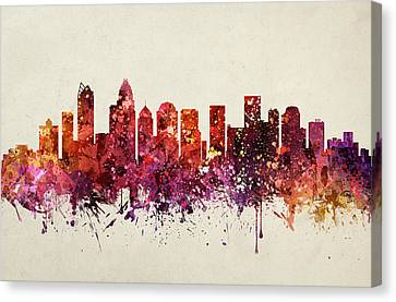 Charlotte Cityscape 09 Canvas Print by Aged Pixel