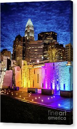 Charlotte Cityscape And Bearden Park Waterfall Wall At Night Canvas Print by Paul Velgos