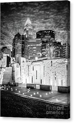 Charlotte Canvas Print - Charlotte Cityscape At Night Black And White Photo by Paul Velgos