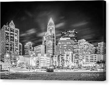 Charlotte Canvas Print - Charlotte Cityscape Black And White Photo by Paul Velgos
