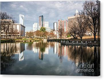 Charlotte Canvas Print - Charlotte Cityscape Reflection On Marshall Park Pond by Paul Velgos