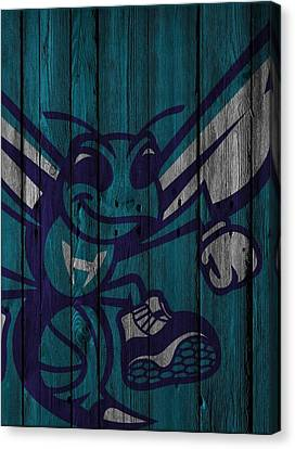 Charlotte Hornets Wood Fence Canvas Print by Joe Hamilton