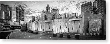 Charlotte Nc Black And White Panoramic Picture Canvas Print by Paul Velgos