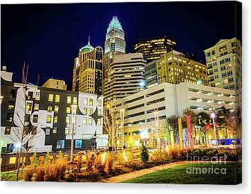 Charlotte Nc Downtown City At Night Photo Canvas Print by Paul Velgos