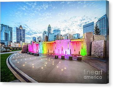 Charlotte Nc Skyline And Bearden Park At Dusk Canvas Print by Paul Velgos