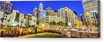 Charlotte Canvas Print - Charlotte North Carolina At Night Panorama Photo by Paul Velgos