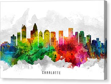 Charlotte North Carolina Cityscape 12 Canvas Print by Aged Pixel
