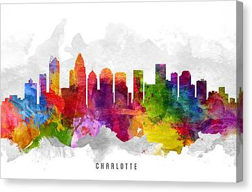 Charlotte North Carolina Cityscape 13 Canvas Print by Aged Pixel