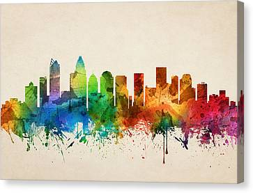 Charlotte North Carolina Skyline 05 Canvas Print by Aged Pixel
