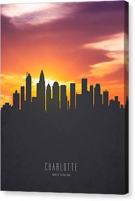 Charlotte Canvas Print - Charlotte North Carolina Sunset Skyline by Aged Pixel