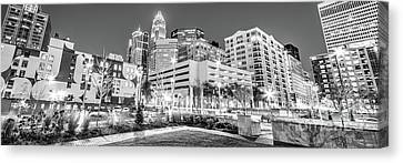 Charlotte Panorama Black And White Image Canvas Print by Paul Velgos