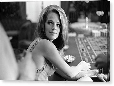 Charlotte Rampling Gambling At The Pair Of Shoes Canvas Print by The Harrington Collection