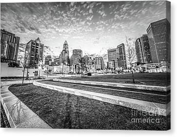 Charlotte Canvas Print - Charlotte Skyline And Bearden Park Black And White Photo by Paul Velgos