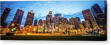 Charlotte Skyline At Dusk Panorama Photo Canvas Print by Paul Velgos