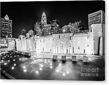 Charlotte Canvas Print - Charlotte Skyline At Night Black And White Photo by Paul Velgos