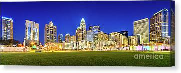 Charlotte Skyline At Night Panorama Photo Canvas Print by Paul Velgos