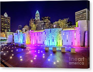 Charlotte Canvas Print - Charlotte Skyline At Night With Romare Bearden Park by Paul Velgos