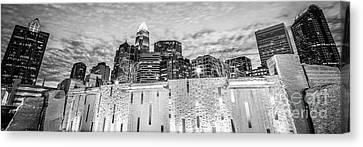 Charlotte Canvas Print - Charlotte Skyline Bearden Park Black And White Panorama by Paul Velgos