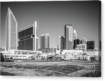 Charlotte Skyline Black And White Picture Canvas Print by Paul Velgos