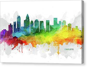 Charlotte Skyline Mmr-usncch05 Canvas Print by Aged Pixel