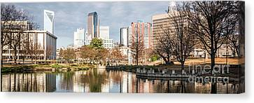 Charlotte Skyline Panorama At Marshall Park Pond Canvas Print by Paul Velgos
