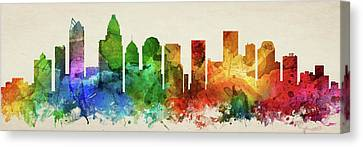 Charlotte Skyline Panorama Usncch-pa03 Canvas Print by Aged Pixel