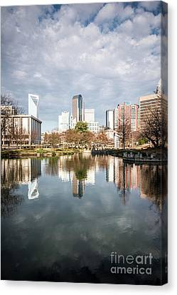 Charlotte Skyline Reflection On Marshall Park Pond Canvas Print by Paul Velgos
