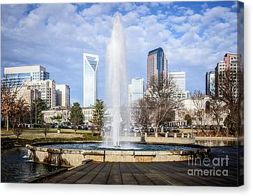 Charlotte Skyline With Marshall Park Fountain Canvas Print by Paul Velgos