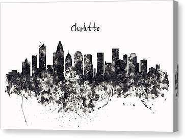 Charlotte Watercolor Skyline Black And White Canvas Print by Marian Voicu