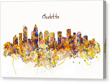 Charlotte Watercolor Skyline Canvas Print by Marian Voicu