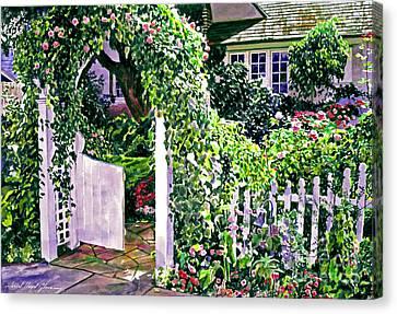 Charming Cottage Gate Canvas Print by David Lloyd Glover