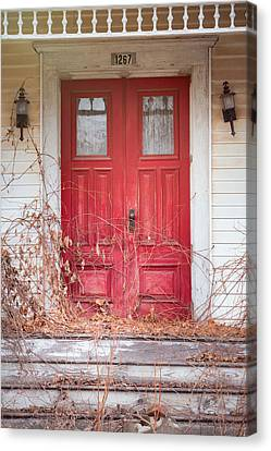 Canvas Print featuring the photograph Charming Old Red Doors Portrait by Gary Heller