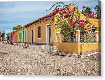 Caribbean Corner Canvas Print - Charming Street Corner In Trinidad, Cuba by Daniela Constantinescu