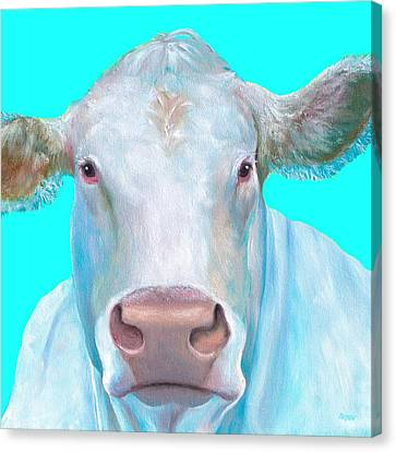 Charolais Cow Painting On Blue Background Canvas Print
